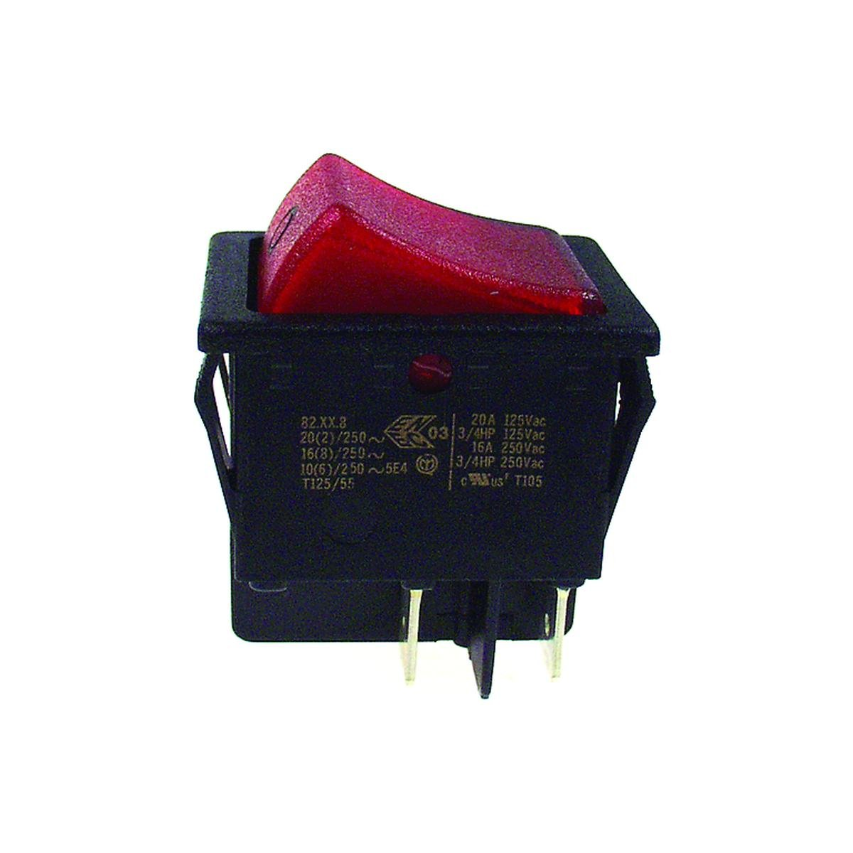 Dobbeltafbryder sort med rødt lys 30 x 22 mm. hulm