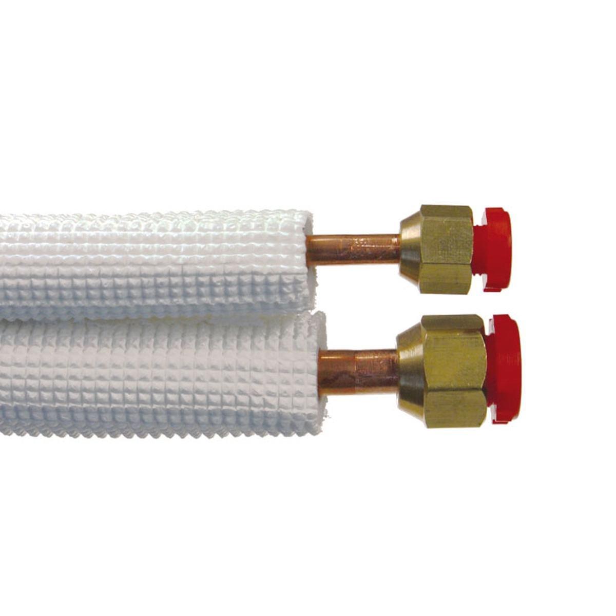 """Kobberrør isol. 1/4"""" + 3/8"""" x 0,8 mm 5 m"""