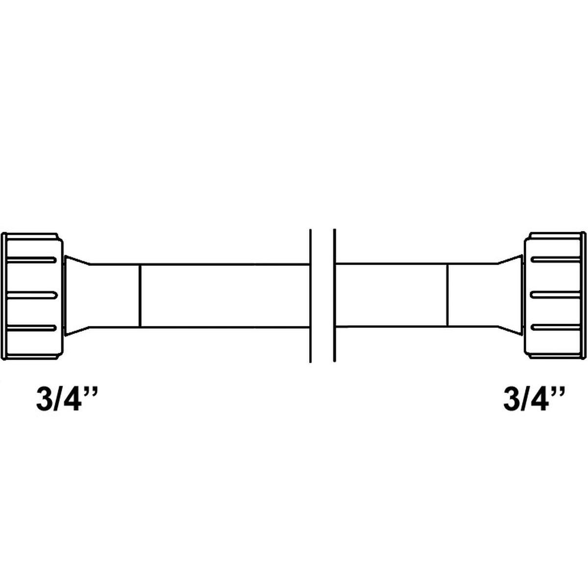 """Tilløbsslange 2,5 meter 3/4"""" lige/lige forskruning"""