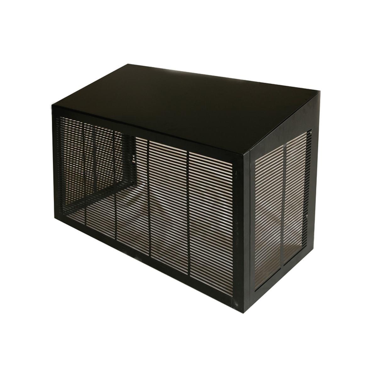 Skyddshus i svart aluminium till värmepump utedel