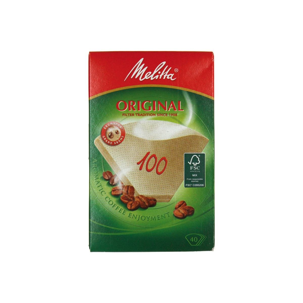 Kaffefilter str. 100 ubleget 40 stk. pakke - Melit