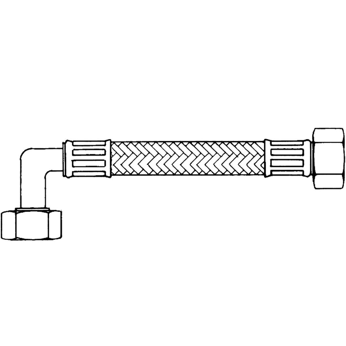 """Inloppsslang stålarmerad 2,5 meter 3/4"""" rak/vinkel"""