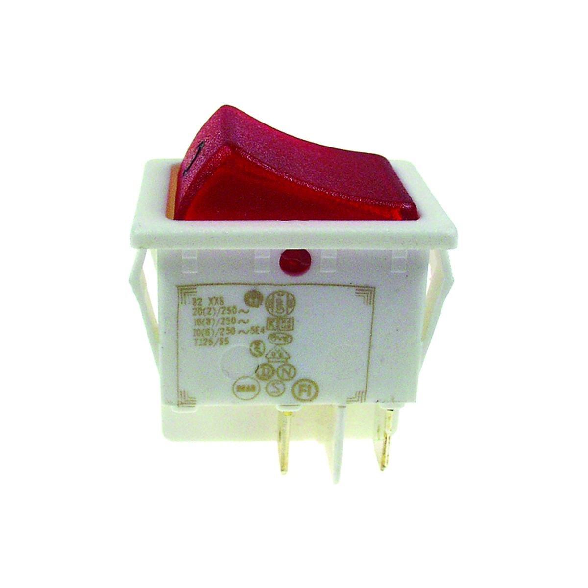 Dobbeltafbryder hvid med rødt lys 30 x 22 mm. hulm