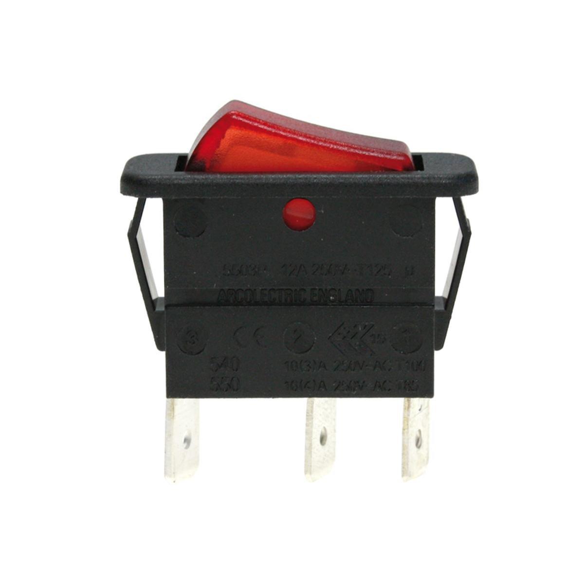 Enkeltomskifter sort med rødt lys 30 x 11 mm. hulm