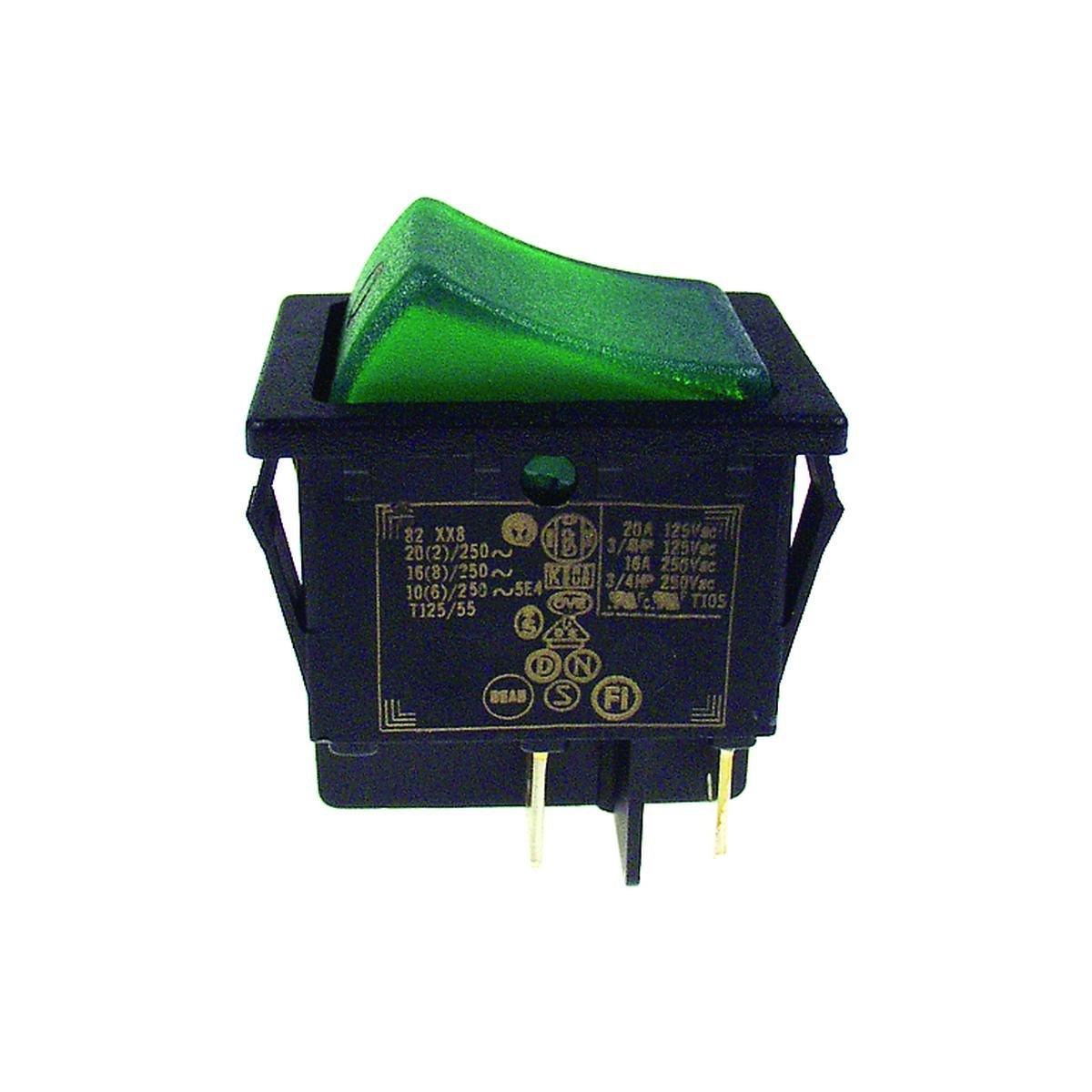 Dobbeltafbryder sort med grønt lys 30 x 22 mm. hul
