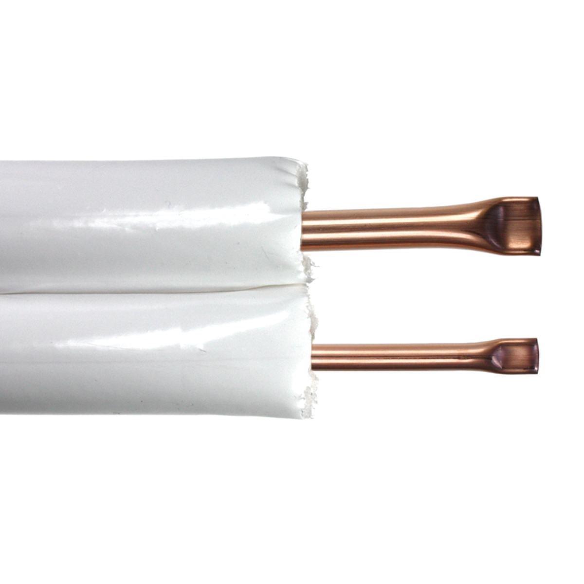 """Kobberrør isol. 1/4"""" + 3/8"""" x 0,7 mm 20 m"""
