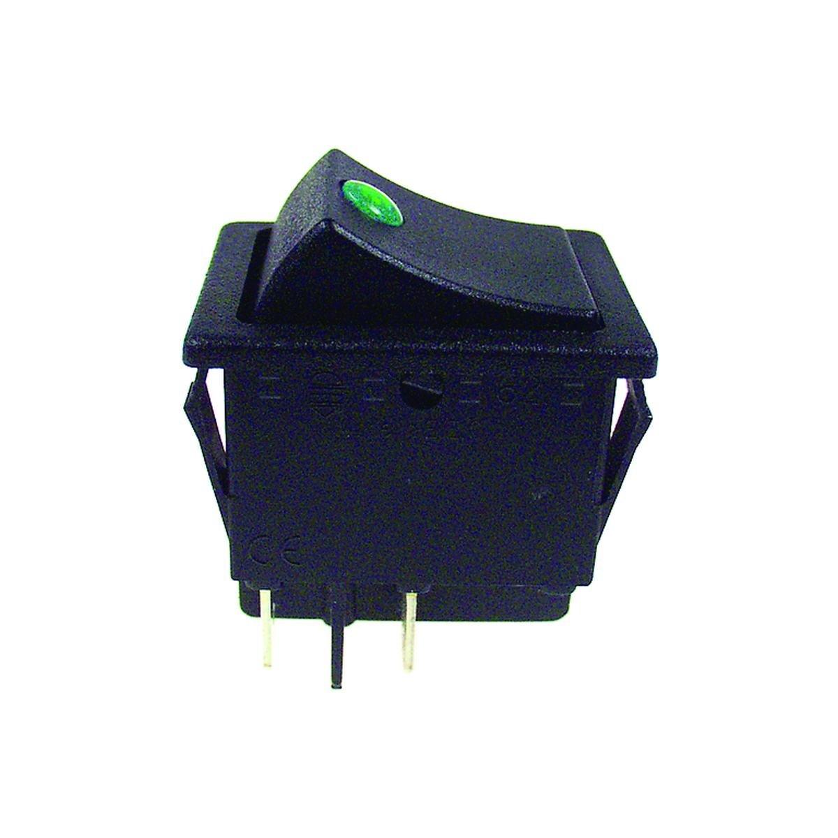 Dobbeltafbryder sort med grøn lysdiode 30 x 22 mm.