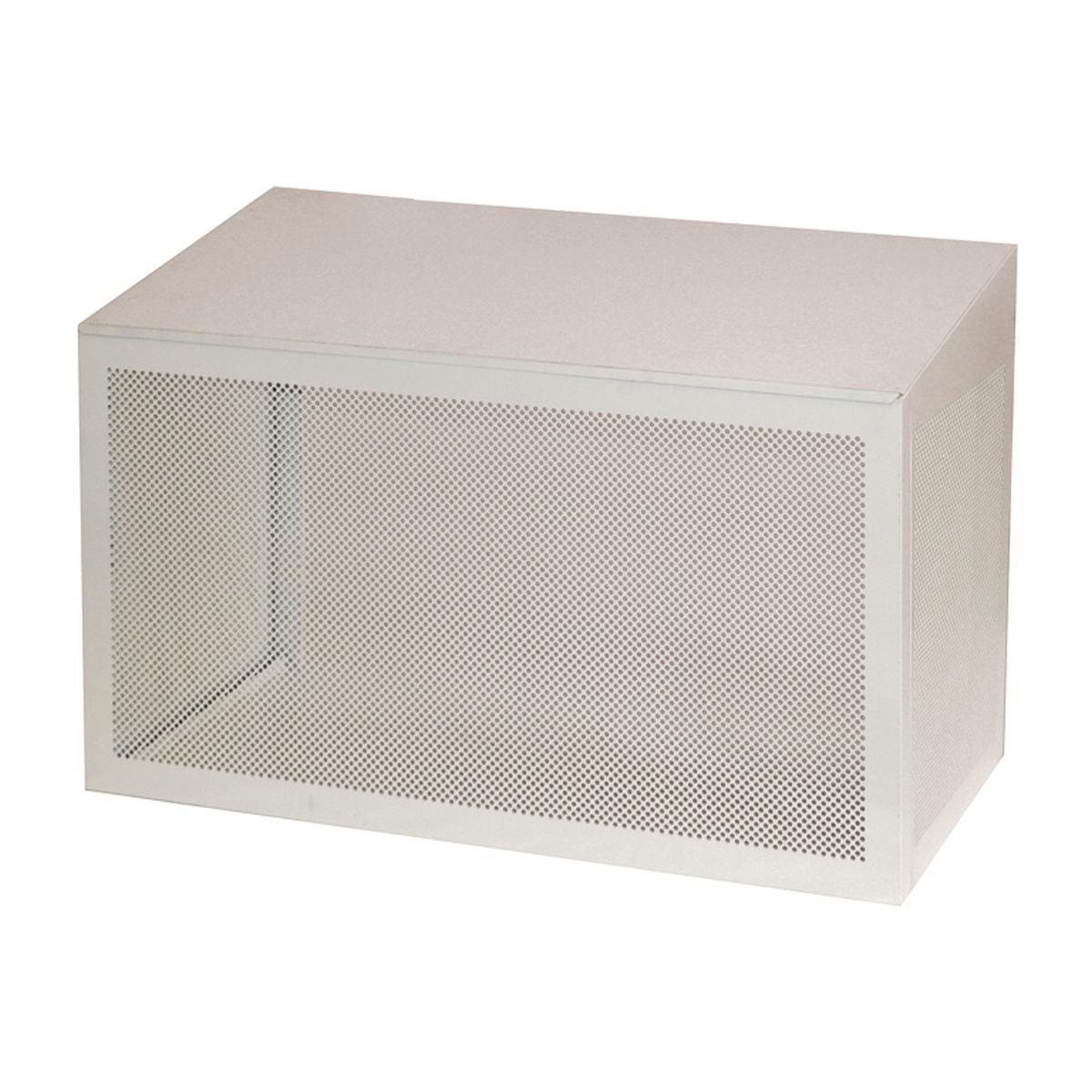 Skyddshus i vit aluminium till värmepump utedel