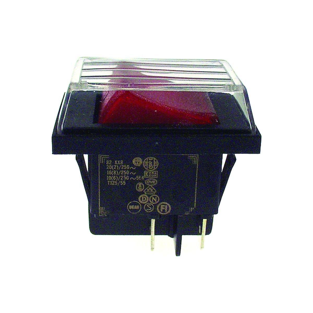 Dobbeltafbryder stænktæt sort med rødt lys 30 x 22
