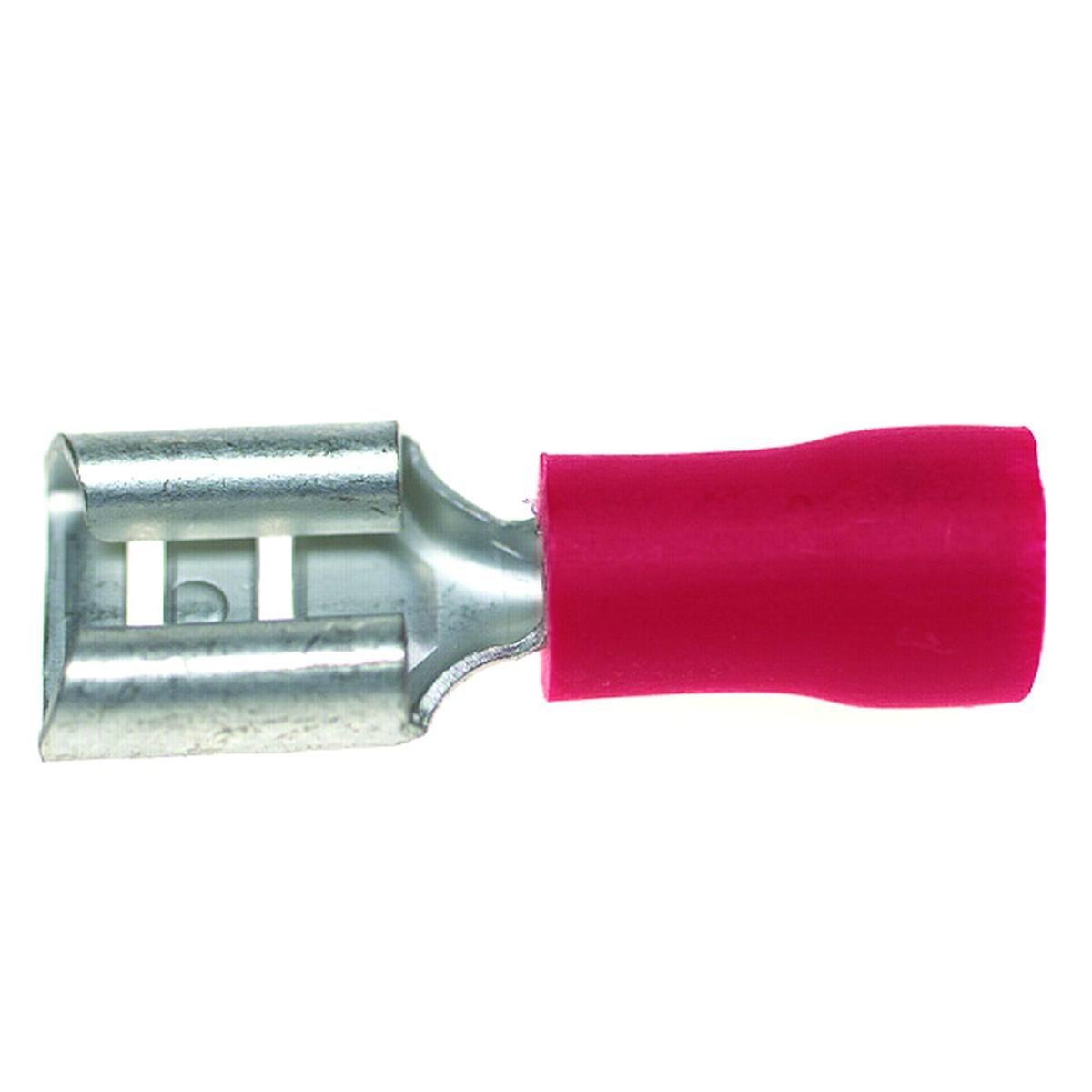 Fladstiksko 0,5 - 1,5 mm² 6,3 mm. stik rød pose me