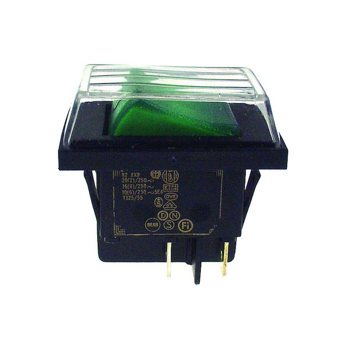 Dobbeltafbryder stænktæt sort med grønt lys 30 x 2
