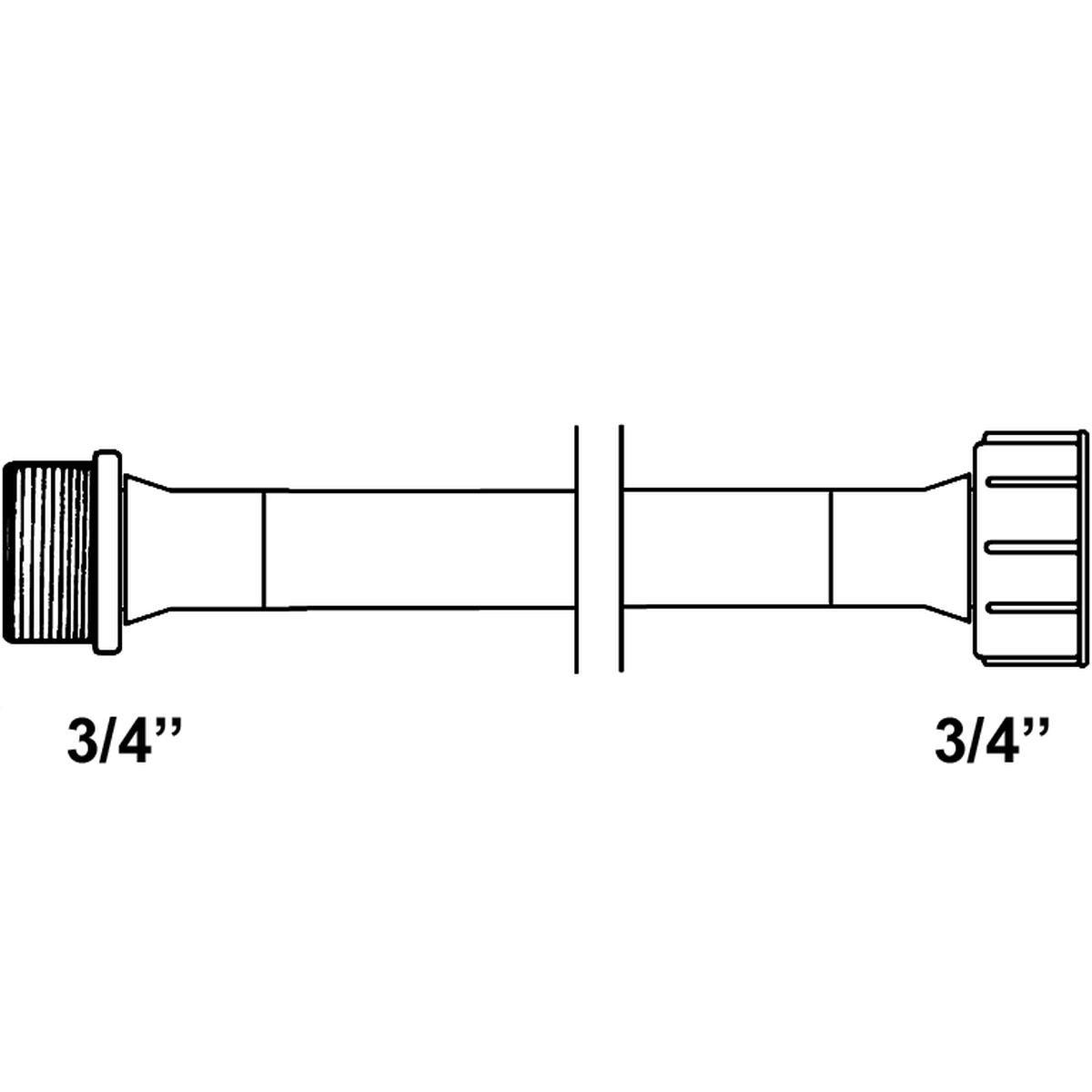 """Tilløbsslange forlænger 1,5 meter 3/4"""" lige/lige f"""
