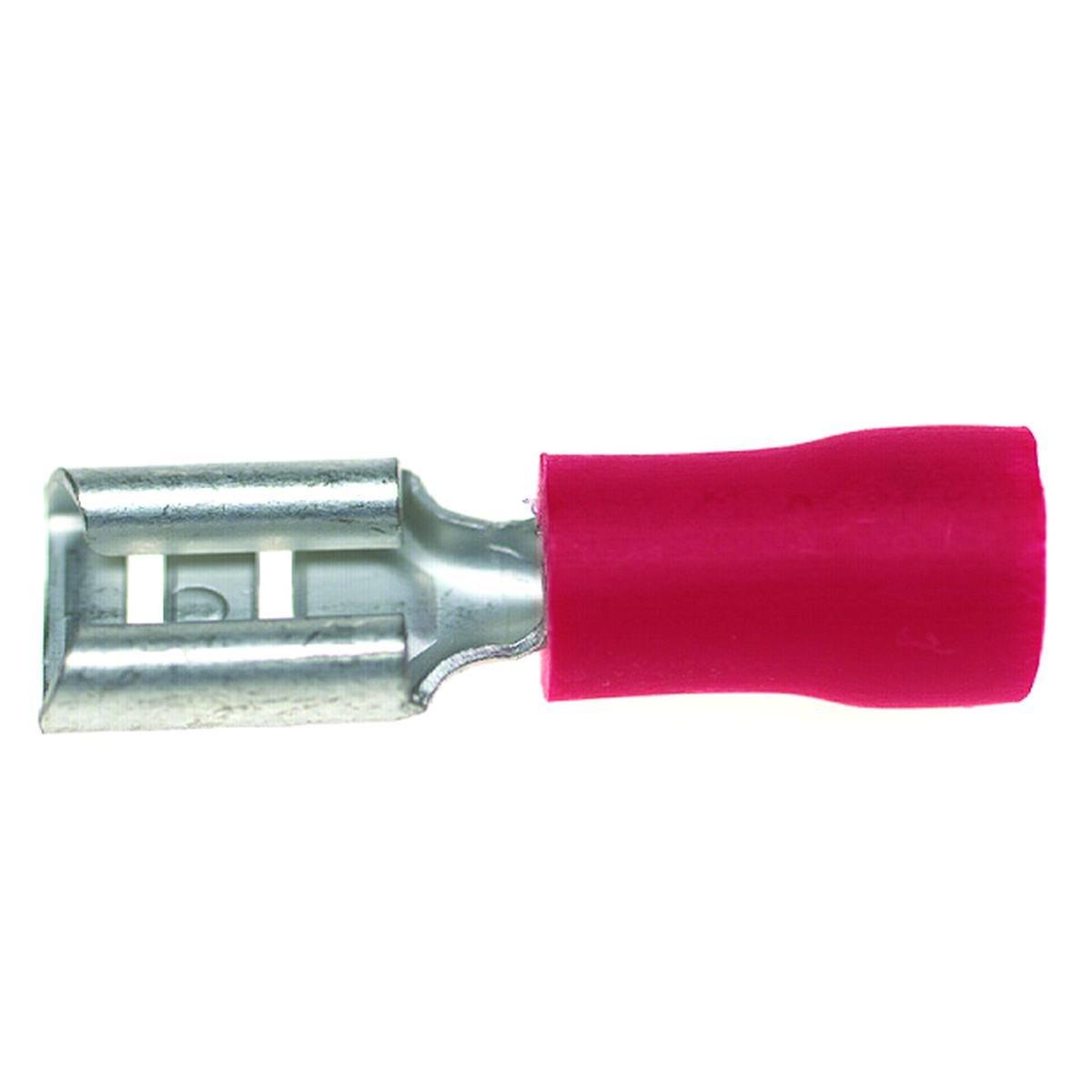 Fladstiksko 0,5 - 1,5 mm² 4,8 mm. stik rød pose me