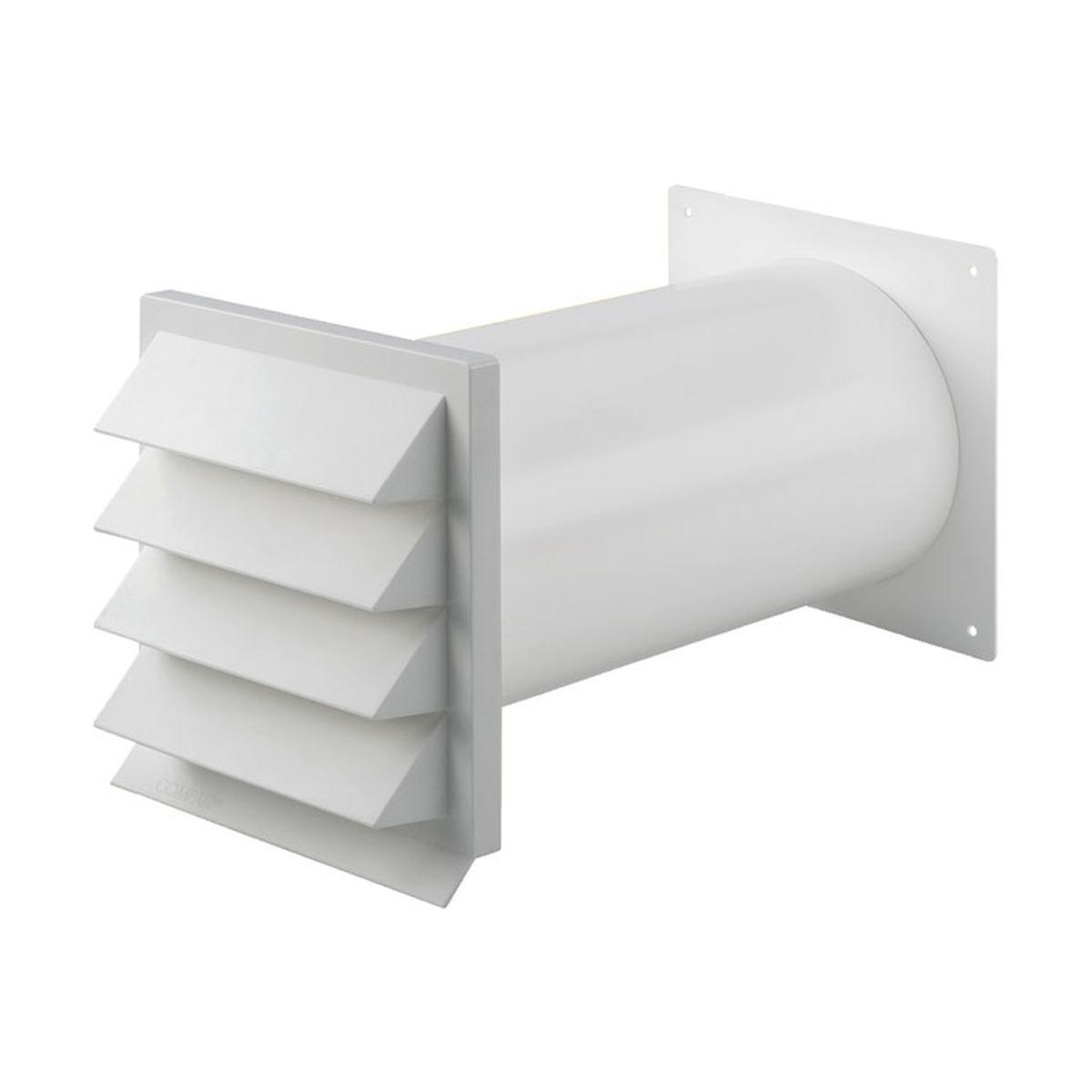 Murgennemføring med faste lameller Ø125 mm. hvid p