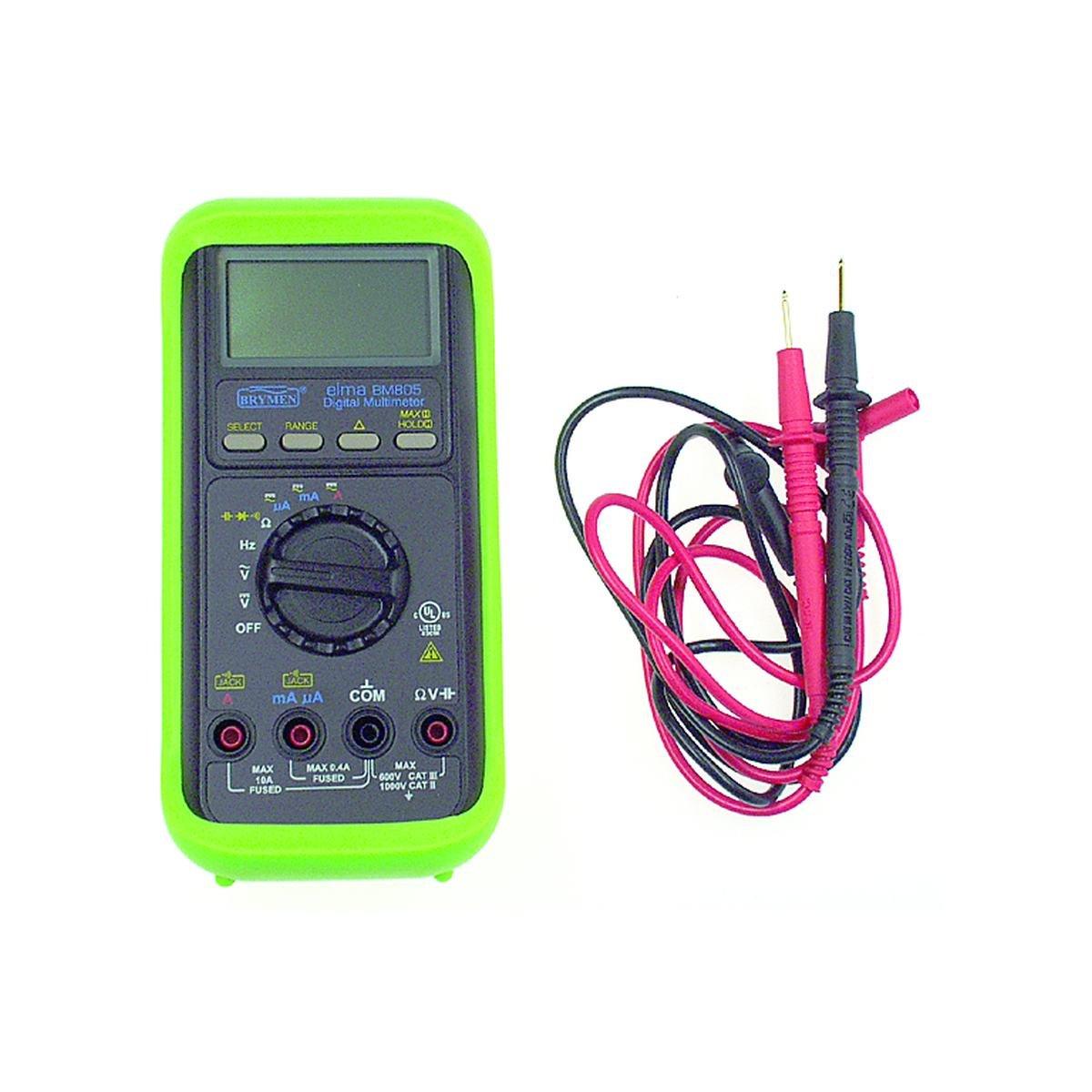 Digitalt multimeter med gummikappe og prøveledning