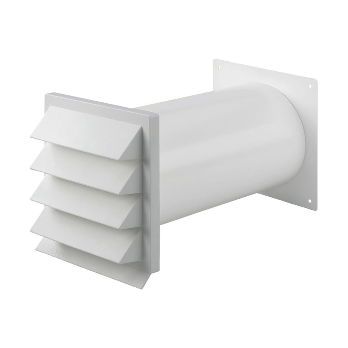 Murgennemføring med faste lameller Ø100 mm. hvid p