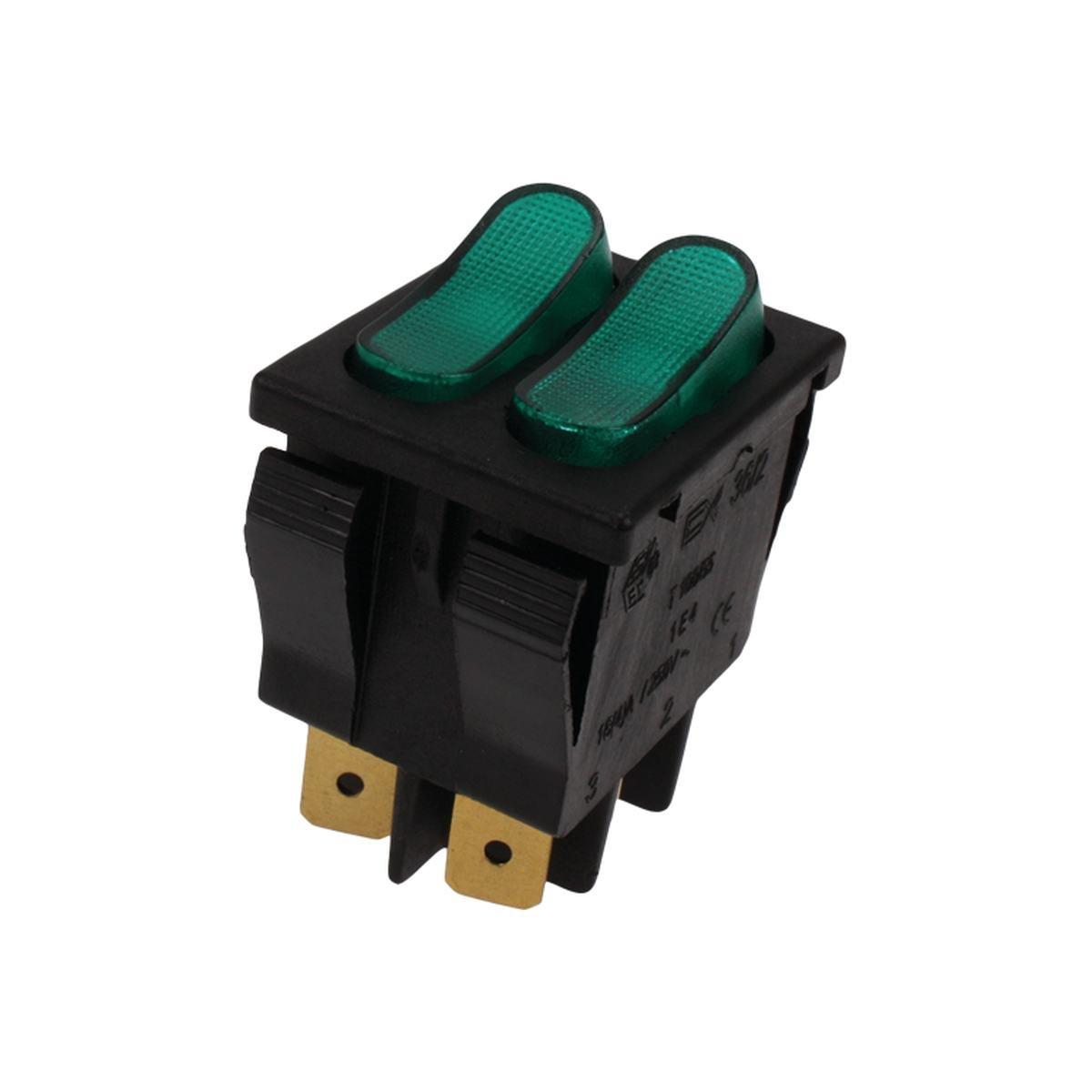 Dobbeltafbryder sort med grønt lys 250V 16A 30x22m